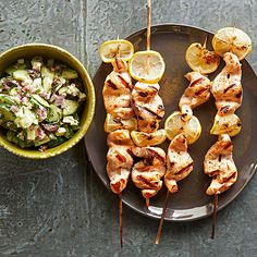 Salmon Kabobs with Cucumber-Feta Salsa