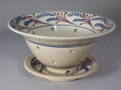 Berry Bowl  Blue Wheat with Red Accents with by CornishHillPottery