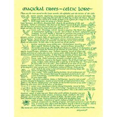 Magickal Trees in Celtic Lore A4 Pagan Poster