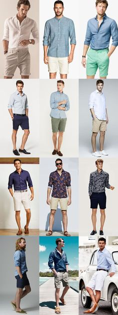 Men's Summer Long-Sleeved Shirt And Shoes Combination Outfit Inspiration Lookbook