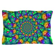 Rainbow Turquoise Fractal Pillow Case on CafePress.com