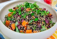 Black rice salad with heirloom carrots and butternut pumpkin recipe - Healthy Mexican Recipes, Delicious Vegan Recipes, Healthy Salad Recipes, Rice Recipes, Veggie Recipes, Vegetarian Recipes, Black Rice Salad, Pumpkin Salad, How To Cook Quinoa