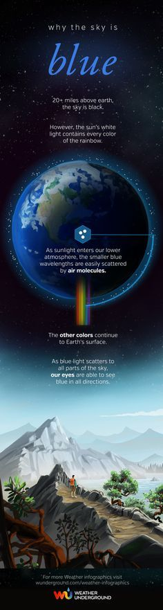 Science physics chemistry light wavelength Why the Sky is Blue Infographic Science Facts, Science Experiments, Earth Science, Science And Nature, Science Space, Space Facts, Weather Underground, Carl Sagan, Sistema Solar