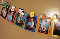 Farm Animals Tractor Photo Banner for Birthday, Parties and MORE – 12 frame w/ detachable favor clips – Nutztiere Farm Animal Party, Farm Animal Birthday, Barnyard Party, Farm Birthday, Farm Party, First Birthday Parties, Farm Animal Cupcakes, Birthday Clips, Birthday Picture Banner