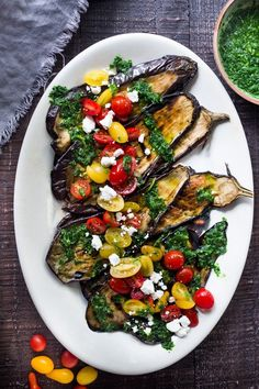 Grilled Eggplant Steaks with Fresh Tomato Relish and an Italian herb sauce called Gremolata. Keep it vegan or add crumbled cheese. A simple, healthy dinner recipe! Feastingathome Recipes steak Grilled Eggplant Steaks with Gremolata and Tomatoes Easy Healthy Dinners, Healthy Dinner Recipes, Vegetarian Recipes, Vegetarian Cooking, Yummy Vegetable Recipes, Yummy Veggie, Grilling Recipes, Gourmet Recipes, Cooking Recipes