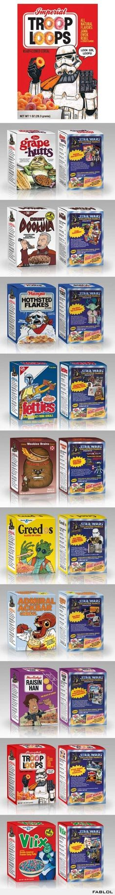 Star Wars Cereals. I would totally eat these.