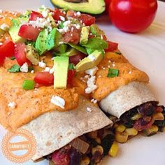 With Peanut Butter on Top: Black Bean Enchiladas with Roasted Red Pepper Sauc. Entree Recipes, Raw Food Recipes, Vegetarian Recipes, Dinner Recipes, Cooking Recipes, Healthy Recipes, Top Recipes, Dinner Ideas, Clean Eating