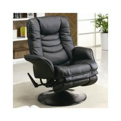 Casual Black Leatherette Swivel Recliner Chair - coaster 600229 $253.80