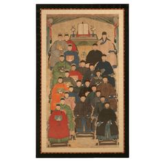"""Large 75 X 45"""" Monumental Expert Framed Antique Chinese Ancestral Painting"""