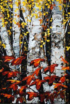 """Evening Shadows"" Create Words, Maya, North America, Tree Paintings, Scene, Contemporary, Landscape, Shadows, Trees"