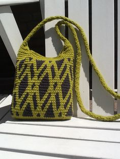 Tapestry crochet sling bag made by Plume