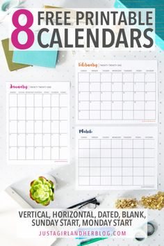 Printable calendar pages are one of the organizing tools I use most often! Keeping track of the schedule, setting goals, and planning events are just a few of the things you can do with these free printable calendars! #printablecalendar #freeprintables #freeprintable Printable Calendar Pages, Blank Monthly Calendar, Schedule Calendar, Planning Calendar, Organizing Tools, Tool Organization, College Organization, Organising, Kitchen Organization