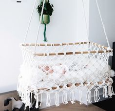 This hanging bassinet is a true eye catcher for your interior. Besides it's wonderful design, our hanging bassinet already cradled worldwide a lot of newborn ba Hanging Bassinet, Hanging Cradle, Diy Couch, Couch Cushions, 100 Diy Crafts, Getting Ready For Baby, Crib Bedding Sets, Baby Fever, Nursery Decor