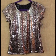 INC Gold Sequin Top NWT INC Gold Sequin Top with zipper in back  sz m INC International Concepts Tops