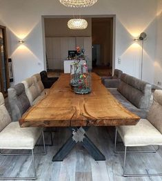 Oak table tree table dining table glued from one piece Holz-Hamburg . Oak table tree table dining table glued from one piece Wood-Hamburg … Dining Table Design, Modern Dining Table, Rustic Table, Dining Room Table, Dining Rooms, Small Dining, Design Tisch, Slab Table, Wood Table