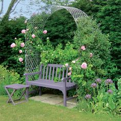 Plain zinc galvanized  wirework Garden Arches. Found on garden-requisites.co.uk