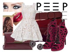 """Peeptoe Pumps"" by missanastasiam ❤ liked on Polyvore featuring Serge Lutens, TheBalm, Sole Society, Topshop, Alex Perry and Givenchy"