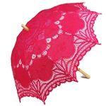 Fuchsia Battenburg Lace Parasol