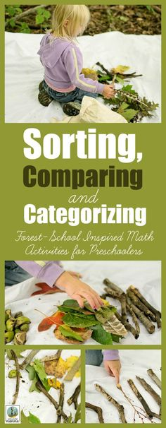 Sorting, Comparing and Categorizing - Forest-School Inspired Math Activities for Preschoolers. Take STEM outside with this fun learning activity for preschool and beyond. From Rain or Shine Mamma. Forest School Activities, Outside Activities, Nature Activities, Outdoor Activities For Kids, Outdoor Learning, Fun Learning, Learning Activities, Toddler Activities, Sorting Activities