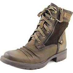 Earth Summit Women Round Toe Leather Brown Boot: Inspired by classic hiking boots, the Summit by Earth features a plush leather collar, wide laces and D-ring hardware for secure all-day wear. Brown Leather Boots, Brown Boots, Soft Leather, Ankle Booties, Bootie Boots, Earth Shoes, Shoe Deals, Leather Collar, Mid Calf Boots