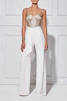 MISHA ARABELLA BODYSUIT - gold-woven knit cloth & a corsetry bodice.