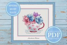 Spring Flowers Anemone Cross Stitch Pattern, Pink and blue Design, Botanical Embroidery, Mother's Day gift (instant download PDF) #mothersday #flowerspattern #anemonepattern #crossstitchpattern #cupwithflowers #springdesign #embroidery #xstitch