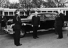 33rd President - Harry S. Truman and a 1947 Cadillac Limousine at the White House.
