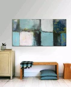 Large Abstract Schilderij - Turquoise - Acrylic painting - x Abstract Canvas, Canvas Wall Art, Painting Abstract, Painting Canvas, Creation Deco, Painting Inspiration, Modern Art, Design, Paintings