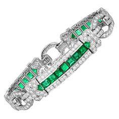 Emerald and Diamond Art Deco Style Bracelet | From a unique collection of vintage link bracelets at https://www.1stdibs.com/jewelry/bracelets/link-bracelets/