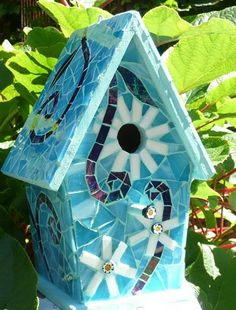 Mosaic stained glass birdhouse