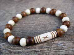 Mens tribal surfer bracelet carved bone and by thehappymushroom, £5.50