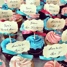 Coral and Teal themed Bridal Shower. Cupcake tags by TimelessThings on Etsy