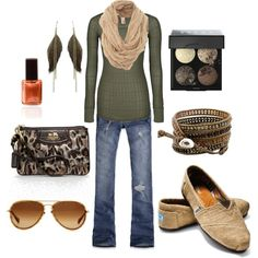 Love the oat-colored snood with the olive green sweater.......burlap Toms.....omg; I have these and wore them out last summer! Most expensive thing in this set.....sunglasses.