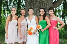 multi colored dresses for bridesmaids
