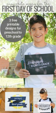 Save some back to school stress while still getting a cute photo for future generations with these easy and FREE printable first day of school signs. 3 different options, just print and snap a photo! Preschool through 12th grade, courtesy of Remodelaholic.com