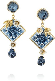 Dolce  amp  Gabbana Gold-Plated Swarovski Crystal Clip Earrings 676a460b223