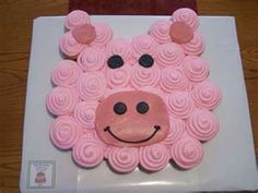 Ideas cupcakes cakes pull apart pig for 2019 Farm Animal Cupcakes, Pig Cupcakes, Animal Cakes, Cupcake Cookies, Pull Apart Cupcake Cake, Pull Apart Cake, Cupcakes Design, Cute Cakes, Party Cakes