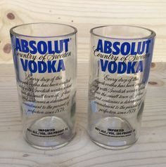 Absolut tumblers (2), upcycled, repurposed by Bottleford on Etsy