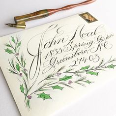 Last week of grad school = more typing then writing papers; I will catch up with my ink next week. #calligraphy #envelopeart #snailmail #johnnealbookseller #merrychristmas