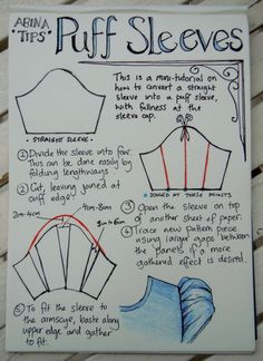 Puff sleeve tutorial just in case you want to sew a pretty chiffon dress or blouse to look the alice way or add them to an existing garment team up with the peter pan collar tutorial on this board,cant sew yourself get mum to do it.Puff sleeve tutorial: p Diy Clothing, Sewing Clothes, Clothing Patterns, Sewing Patterns, Dress Patterns, Shirt Patterns, Coat Patterns, Dress Sewing, Barbie Clothes