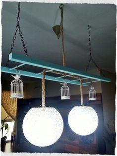 #DIY #lamp #ladder #tealight #candle #birds #cage