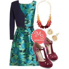 In this outfit: Everywhere You Glow Dress, The Dream of the Crop Cardigan in Navy, Berry Good Harvest Necklace in Autumn, Oh Why Knot? Earrings, Dynamic Debut Heel in Burgundy #prints #cardigan #statementnecklace #specialoccasion #elegant #party