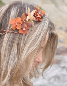 Flower Crown Flower Wreath Starfish  Fall Flowers Unique Bohemian Flower Crown Perfect for a Beach Wedding or Music Festival on Etsy, $44.00