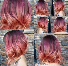 Purple/peach hair
