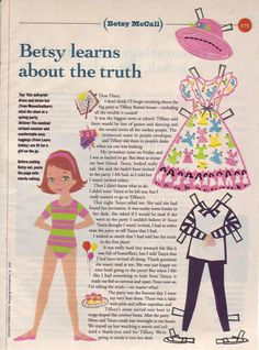 Betsy learns about the truth...March 1993 paper dolls