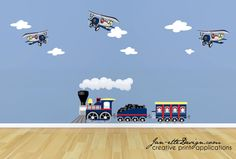 Childrens Train and Airplanes Wall Decals, Train Wall Art, Airplane Wall Stickers, Kids Reusable Wall Clings by JanetteDesign on Etsy https://www.etsy.com/listing/162100066/childrens-train-and-airplanes-wall