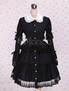 Negro Algodón Lolita OP Vestido Largas Mangas Cuello Redondo Encaje