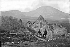 19th century image of Murrisk Abbey, Co. Mayo with Croaghpatrick in the background by Robert French. Murrisk Abbey was founded by the Augustinian Friars in 1456 on land provided by Lady Maeve O'Conor next to Clew Bay & was dedicate d to St. Patrick. The image is from the national Library Collection L_CAB_00364. Grace O'malley, Irish People, Connemara, Cathedrals, Pilgrim, Day Trip, St Patrick, Monument Valley