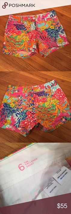 Lilly Pulitzer Callahan Shorts In great pre-owned condition. No rips, stains, or pilling. No trades or try ons. Smoke free, dog friendly home. Reasonable offers only. Please specify measurements if you would like them. Shipping prices are firm. Lilly Pulitzer Shorts