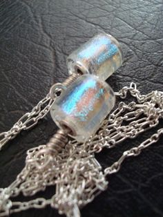 Ice Princess Lariat  Clear Dichroic Glass by ArtworxGlassStudio
